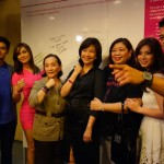 ABS-CBN contract artists JC de Vera, Maja Salvador, Angel Locsin and Jericho Rosales show support for Pink Positive at the turnover of the ANC Pledge Wall. ICanServe Foundation chairman Libet Virata (center) is flanked by ICanServe president Tang Singson and board member Pamsy Tioseco. Pink Positive is ICanServe Foundation's fund-raising project for 2013, that favors women living with breast cancer and those at risk.