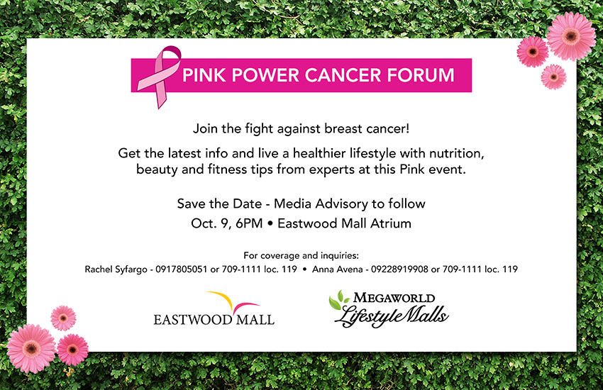 Pink Power Cancer Forum Oct 9 at Eastwood