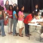 Women queue for breast screening