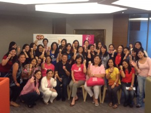 Del Monte officers and staff members join the fight against breast cancer, flashing their ICanServe baller bands in support of the cause. (September 27, 2013)